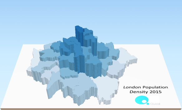 London 3D population density 2015